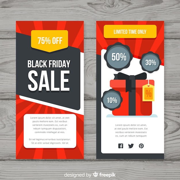 Sales Flyer Template | Black Friday Sales Flyer Template With Gift Box Vector Free Download