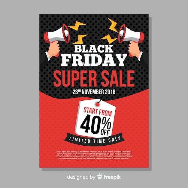 black friday sales flyer template with megaphone vector free download