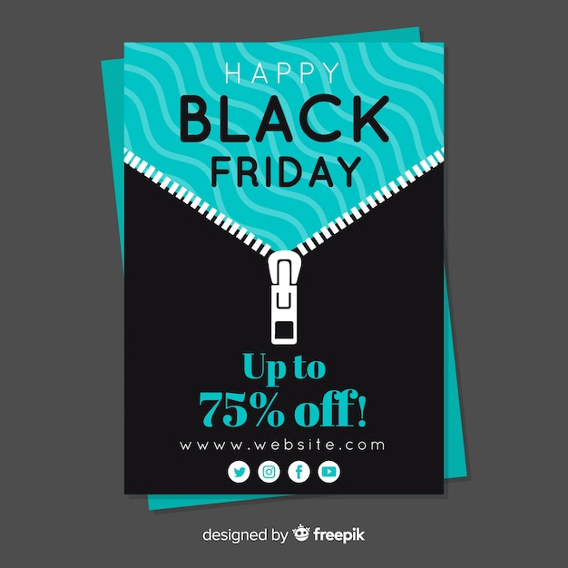 black friday sales flyer template with zip vector free download