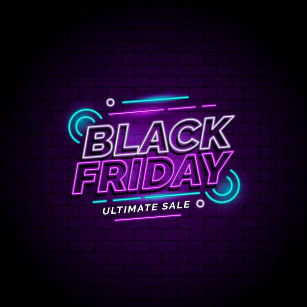 Black friday sales in neon style Premium Vector