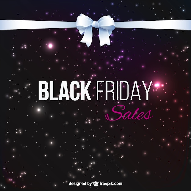 Black Friday sales with white ribbon Free Vector