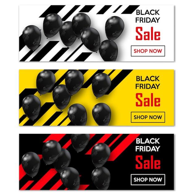 ブラックフライデー。世界の販売日の風船であなたのデザインのバナーを設定します。 Premiumベクター