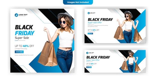 ブラックフライデーソーシャルメディアバナーテンプレートデザイン Premiumベクター