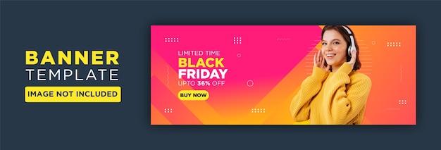 ブラックフライデーソーシャルメディアfacebookカバーテンプレート Premiumベクター