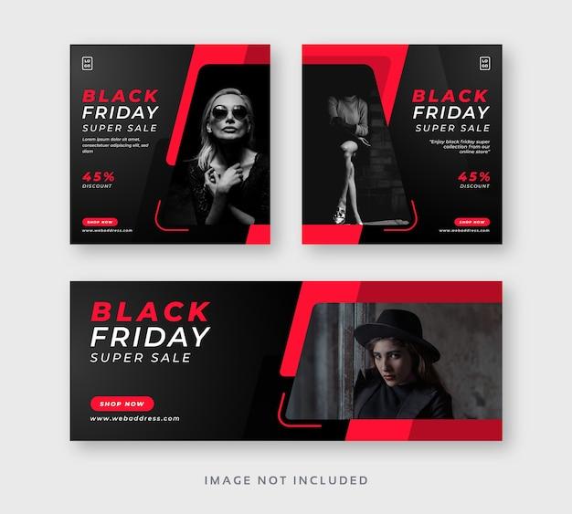 Black friday social media instagram post with facebook cover web banner Premium Vector