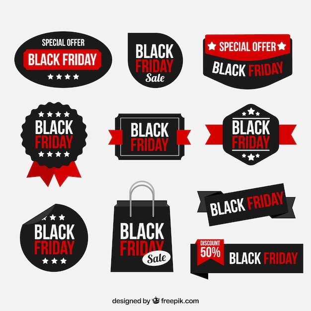 Black friday sticker collection Free Vector