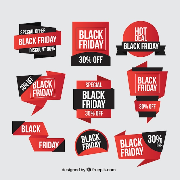 Black friday sticker set of special deals free vector