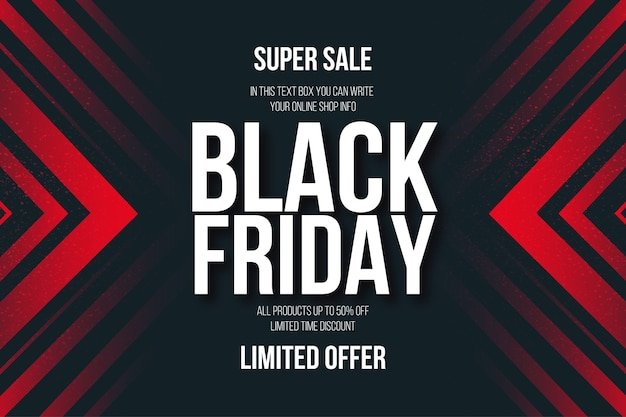 Black friday super sale banner with abstract red shapes background Free Vector