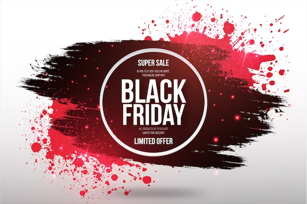 Black friday super sale banner with brush frame Free Vector