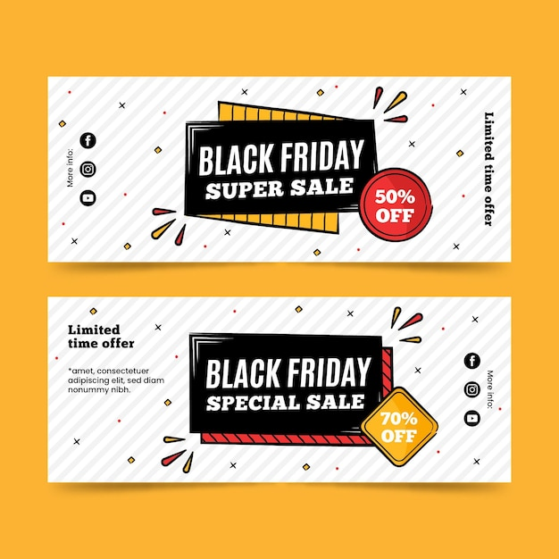 Black friday super sale hand drawn banners Free Vector