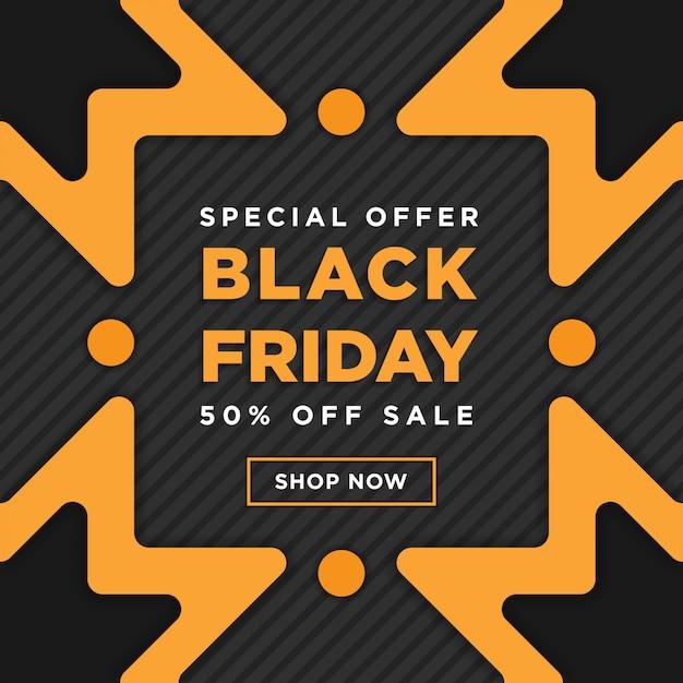 Black friday super sale square banner template design Premium Vector