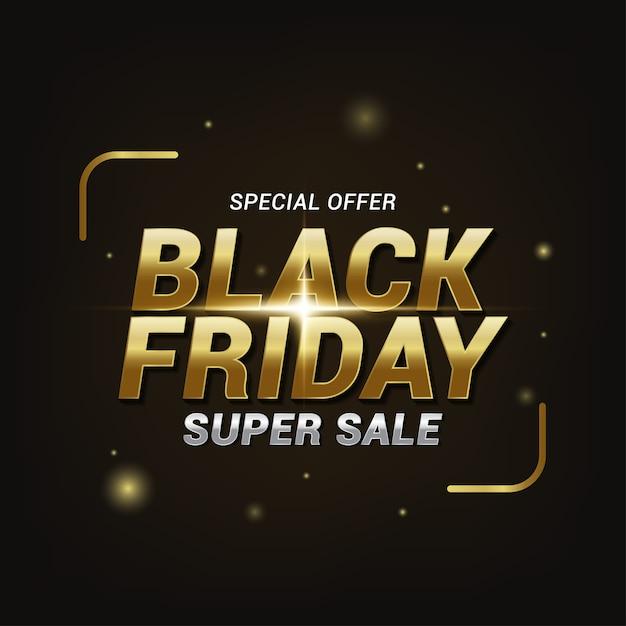 검은 금요일 슈퍼 판매 텍스트 효과, 배너 템플릿 프리미엄 벡터