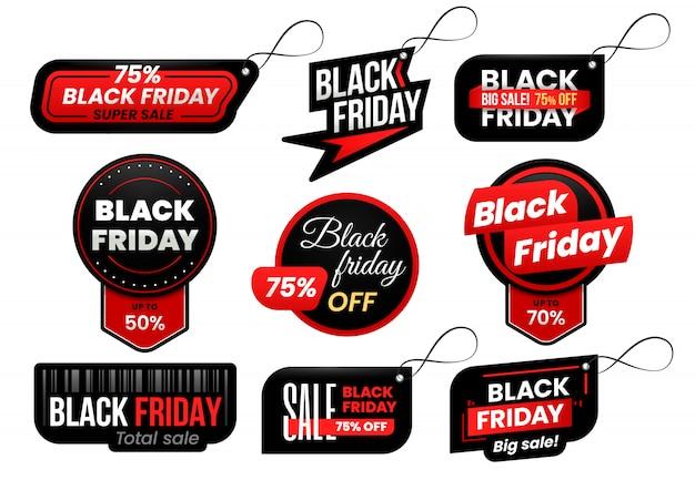 Black friday tag. marketing sale labels set Premium Vector
