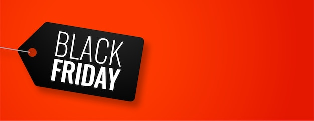 Black friday tag on red banner with text space Free Vector