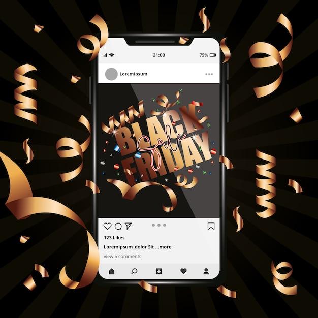Черная пятница шаблон для смартфона между стримерами. социальная сеть Premium векторы