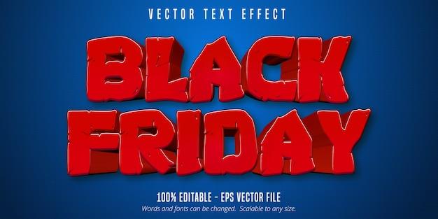 ブラックフライデーのテキスト、青いテクスチャ背景に漫画スタイルの編集可能なテキスト効果 Premiumベクター