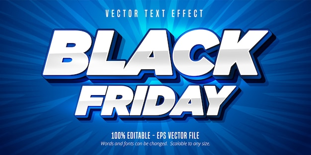 Black friday text, editable text effect Premium Vector