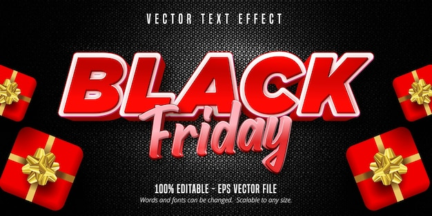 黒の金曜日のテキスト、編集可能なテキスト効果 Premiumベクター