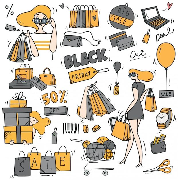 Black friday theme doodle Premium Vector