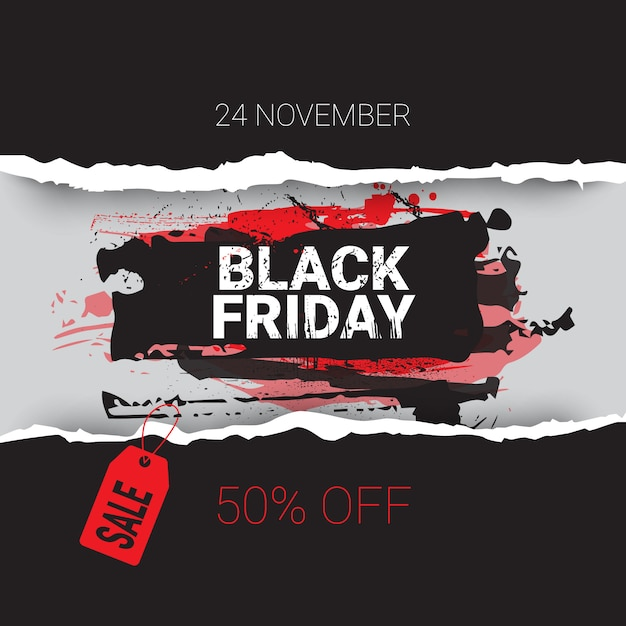 Black friday torn curved wrapped paper 24 november sale with red tag banner shopping discount concept Premium Vector