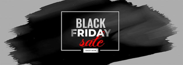 Black friday watercolor sale banner Free Vector