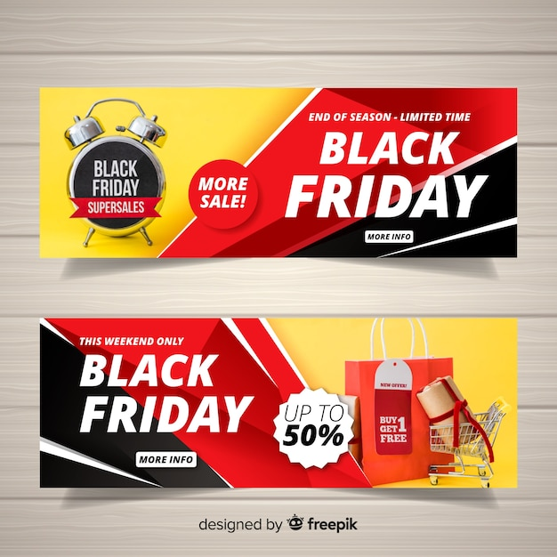 Black friday web banner Free Vector