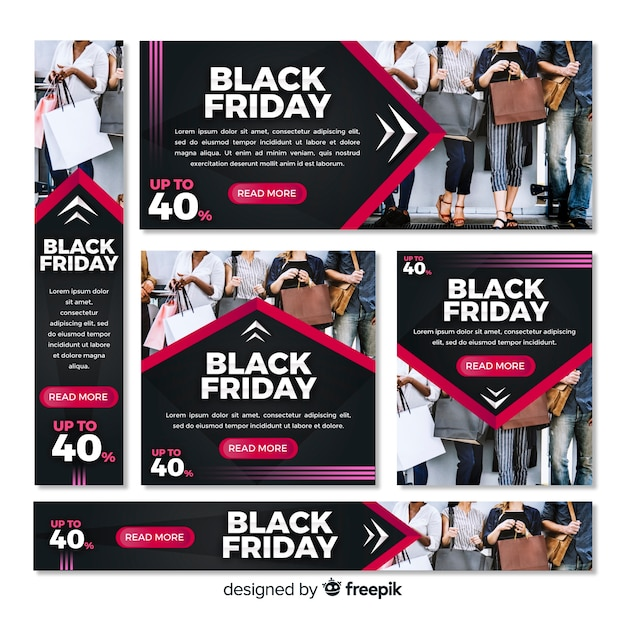 Black friday web banners Free Vector