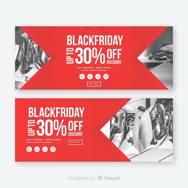 Black friday website banner template Free Vector