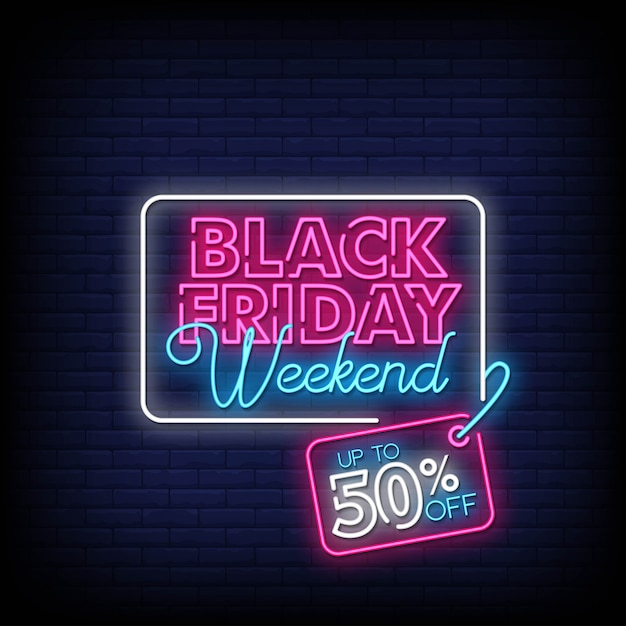 Black friday weekend sale neon signs style text Premium Vector