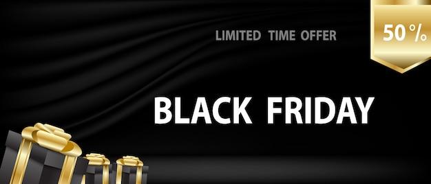Черная пятница с подарками на черном занавесе и сцене Premium векторы