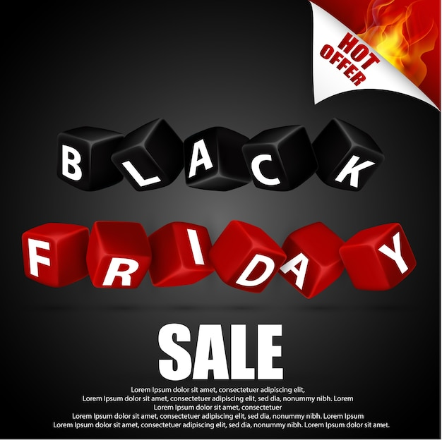 Black friday with red and black cubes on black background Premium Vector