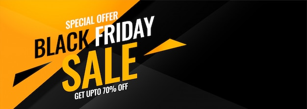 Black friday yellow and black abstract sale banner Free Vector