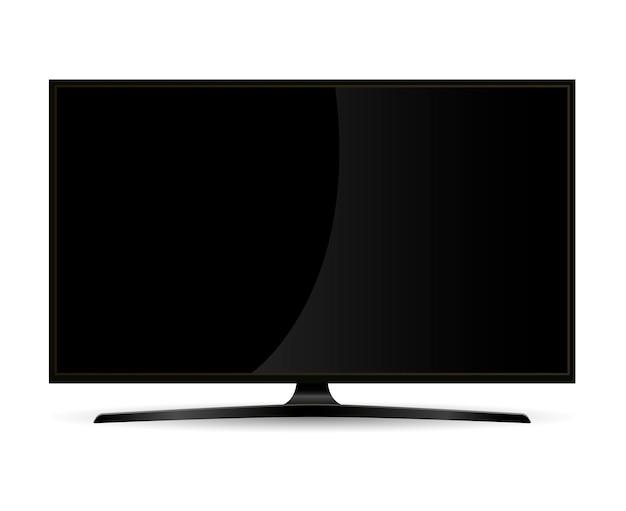 Black full hd tv set monitor with flat wide screen Premium Vector