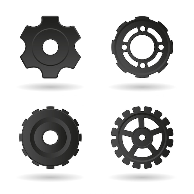 Black gear collection Free Vector