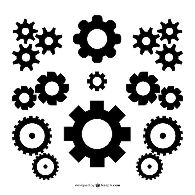 Black gears Free Vector