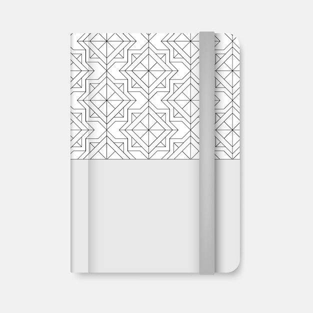 Black geometric pattern cover of a white diary vector Free Vector