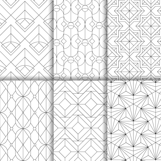 Black geometric seamless patterns set on white background Free Vector
