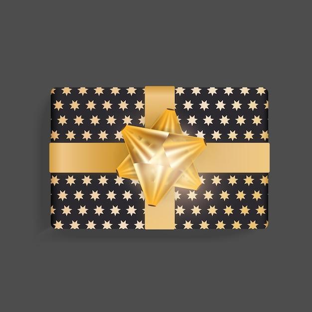 골드 스타 패턴으로 블랙 선물 상자. 골드 리본 활. 프리미엄 벡터