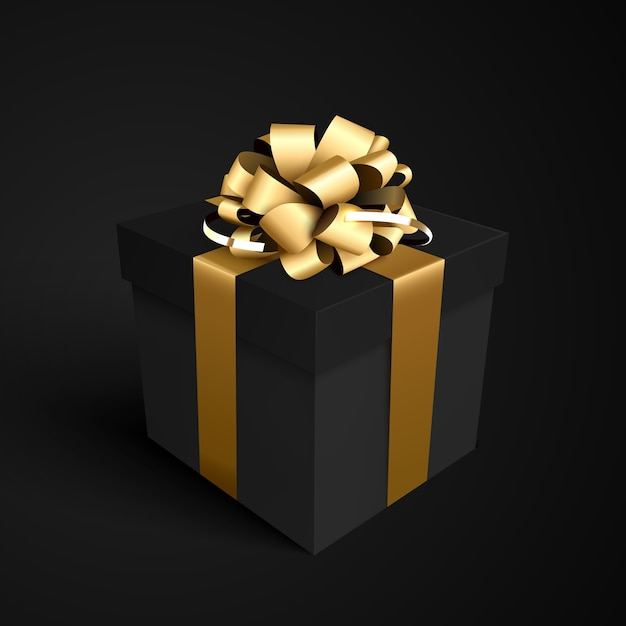 ブラックフライデーセールデザインのゴールドリボンリボン付きブラックギフトボックス。 Premiumベクター