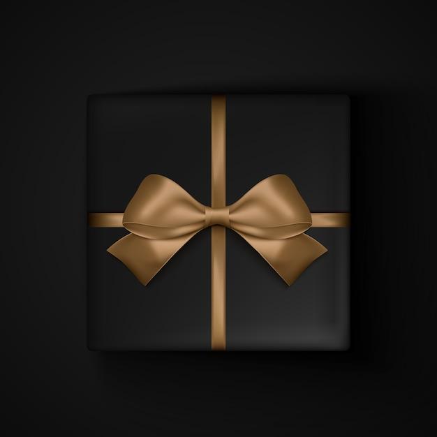 ブラックフライデーセールのゴールドリボンリボン付きブラックギフトボックス Premiumベクター