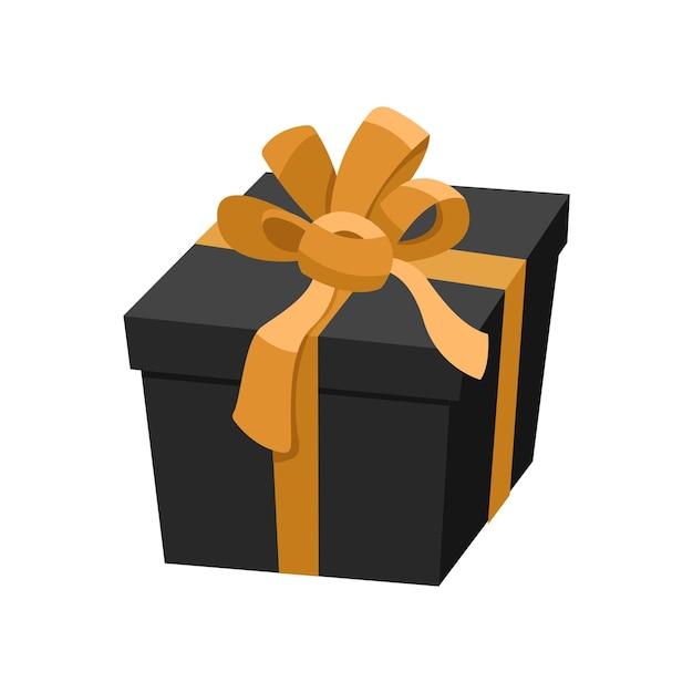 황금 리본과 새틴 활, 블랙 프라이데이 판매, 크리스마스 축제 장식 휴일 기호에 대한 럭셔리 선물 블랙 선물 상자. 흰색 배경에 고립 된 평면 만화 스타일의 그림 프리미엄 벡터