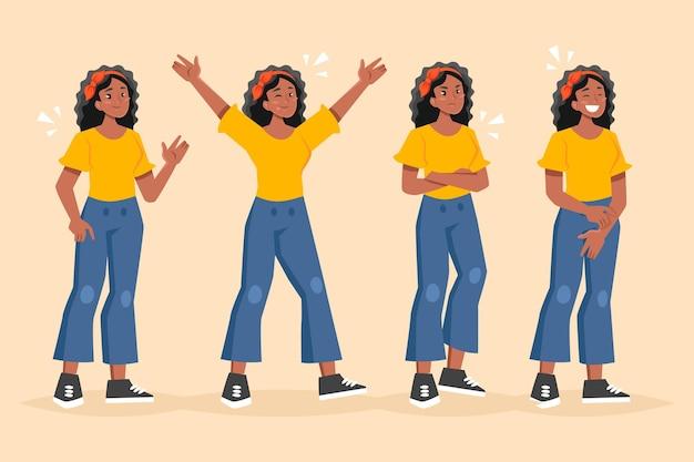 Черная девушка в разных позах Бесплатные векторы