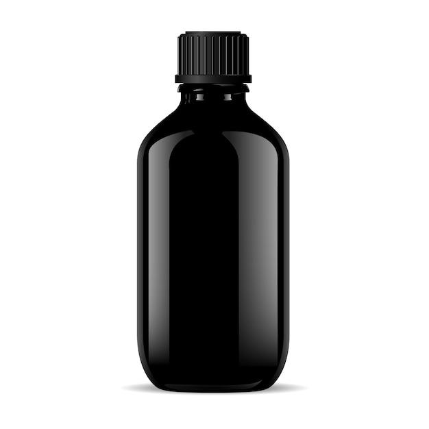 Black glass medical bottle isolated on white. Premium Vector