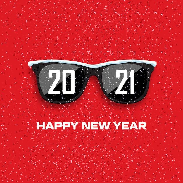 降雪の背景に黒いメガネ。明けましておめでとうございます。 Premiumベクター