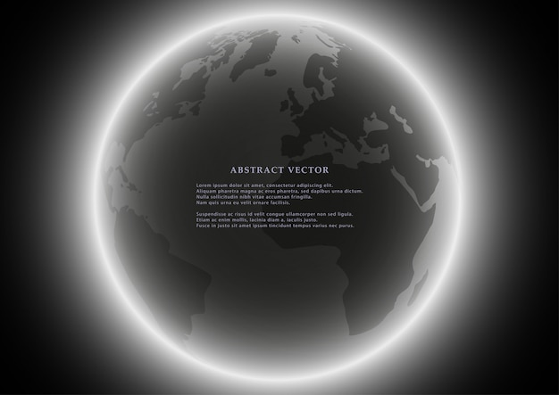 Black globe earth background. Premium Vector