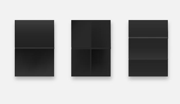 Черная склеенная текстура бумаги, набор влажных мятых бумажных листов. формат а4. Premium векторы