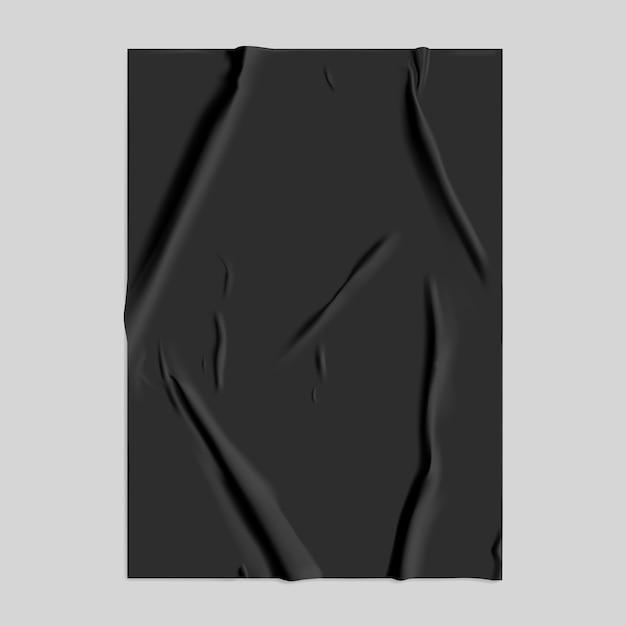 Черная клееная бумага с эффектом мокрых складок Premium векторы