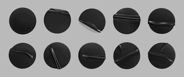 Black glued round crumpled sticker set. adhesive clear black paper or plastic stickers label with glued, wrinkled effect Premium Vector