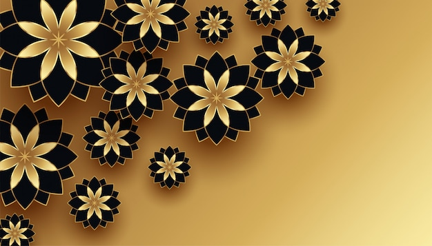 Black and gold 3d flower decoration background Free Vector