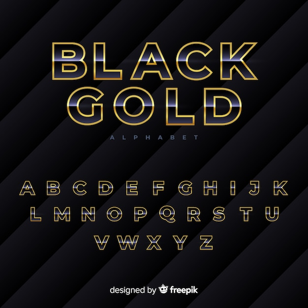 Black and gold alphabet Free Vector